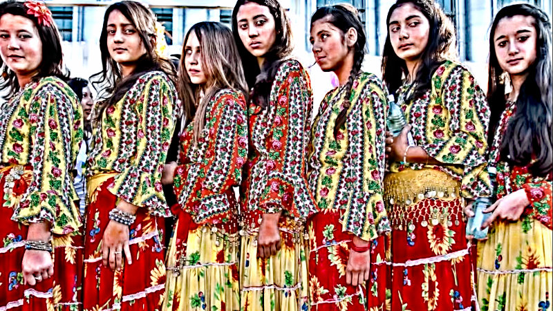Romani girls in traditional dress
